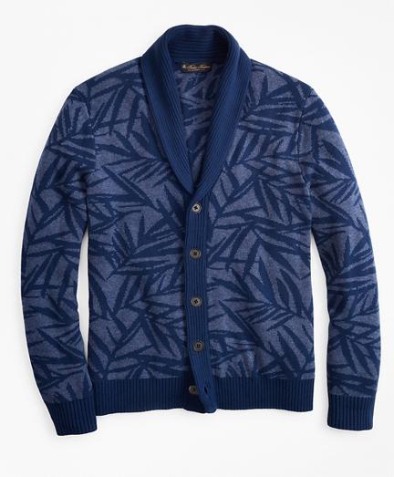 Palm Print Shawl Collar Cardigan