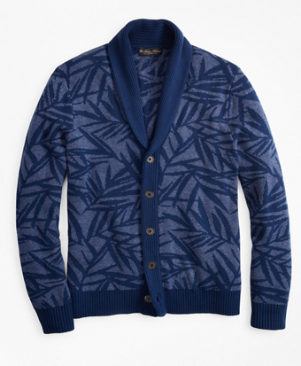 Palm Print Shawl Collar Cardigan