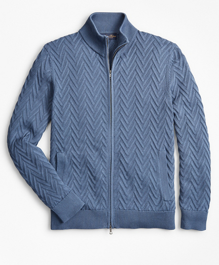 Supima® Cotton Chevron Full-Zip Cardigan