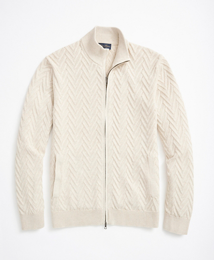 Supima® Cotton Chevron Full-Zip Cardigan