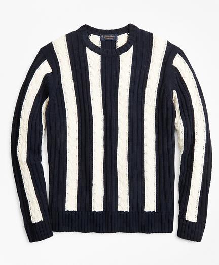 Vertical Stripe Cable Crewneck Sweater