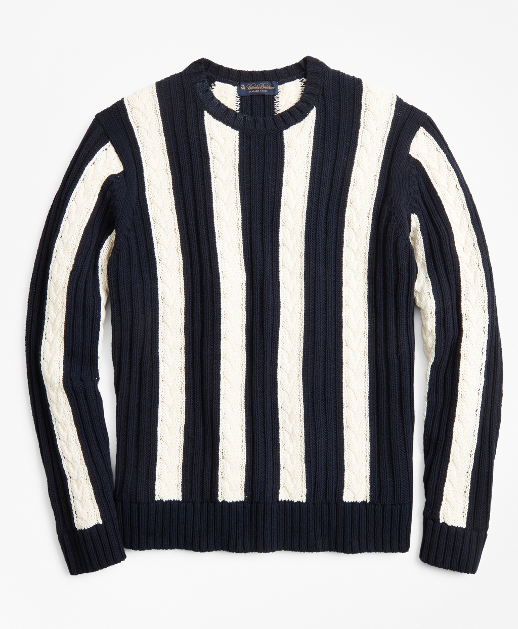 60s 70s Men's Jackets & Sweaters Brooks Brothers Mens Vertical Stripe Cable Crewneck Sweater $248.00 AT vintagedancer.com