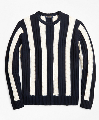 Vertical Stripe Cable Crewneck Sweater