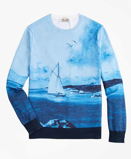 Supima® Cotton Ocean Motif Crewneck Sweater
