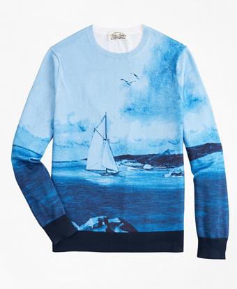 Supima® Cotton Ocean Motif Crewneck Sweater