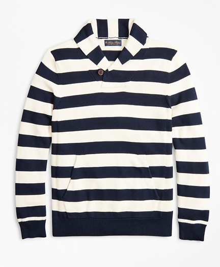 Supima® Cotton Nautical Stripe Shawl Collar Sweater