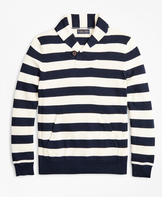 Supima® Cotton Nautical Stripe Shawl Collar Sweater Navy