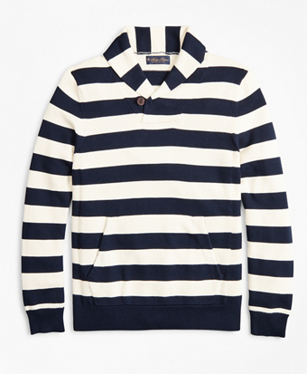 Supima® Cotton Nautical Stripe Shawl Collar Sweater