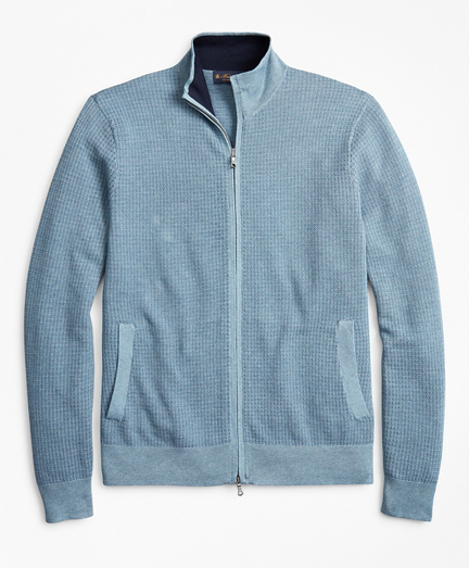 Supima® Cotton Textured Full-Zip Sweater
