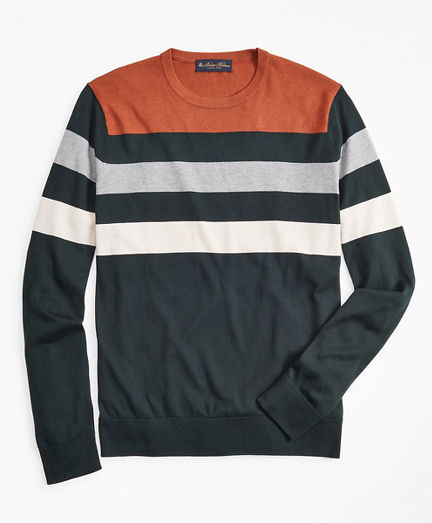 Silk and Cotton Stripe Crewneck Sweater