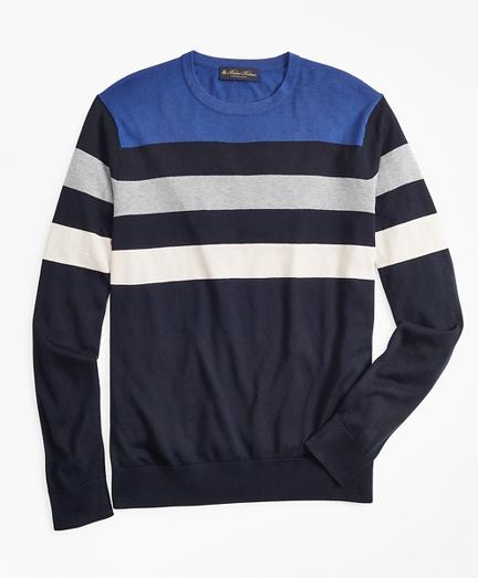 Silk and Cotton Stripe Crewneck Sweater