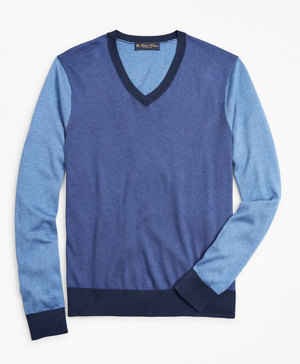 Silk and Cotton Color-Block V-Neck Sweater