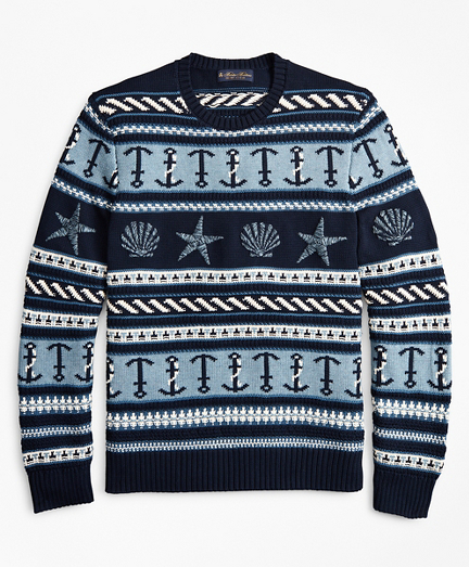 Supima® Cotton Nautical Motif Fair Isle Crewneck Sweater