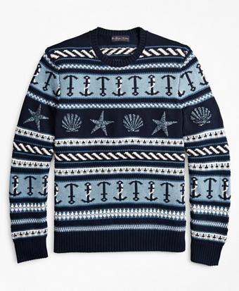 Supima® Cotton Nautical Motif Fair Isle Crewneck Sweater