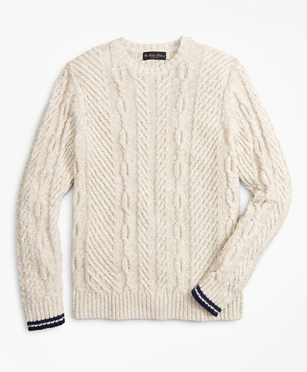 Cotton and Linen Cable Crewneck Sweater