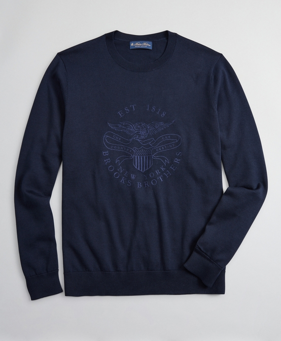 Lincoln Seal Supima® Crewneck Sweater Blue