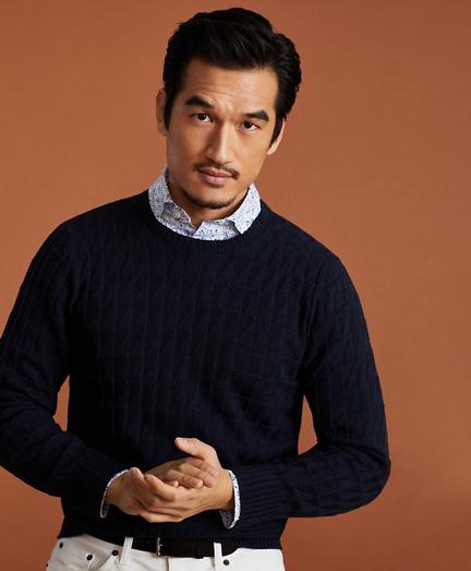 Golden Fleece® 3-D Knit Fine-Gauge Cashmere-Silk Textured Crewneck Sweater