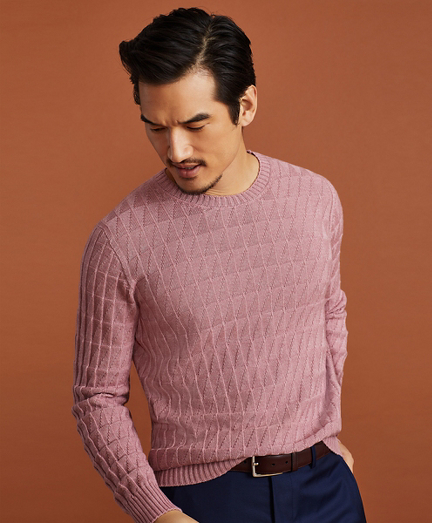 Golden Fleece® 3-D Knit Fine-Gauge Cashmere-Silk Textured Crewneck Sweater