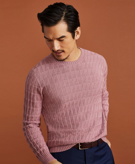 Golden Fleece® 3-D Knit Fine-Gauge Cashmere-Silk Textured Crewneck Sweater Pink