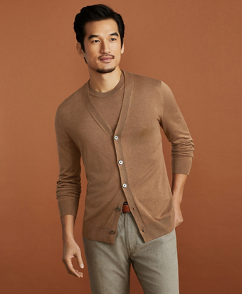 Golden Fleece® 3-D Knit Fine-Gauge Silk Cardigan Sweater