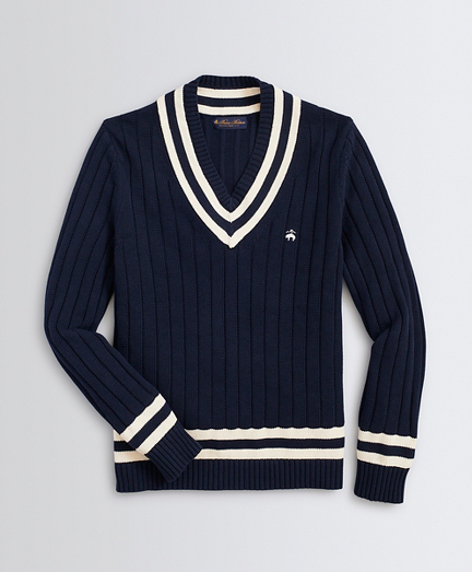 Classic V-Neck Tennis Sweater