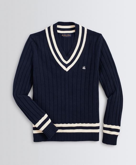 Classic V-Neck Tennis Sweater Navy