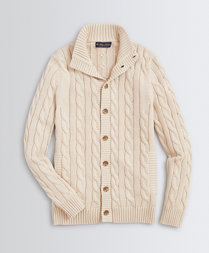 Mockneck Button-Front Cable Cardigan