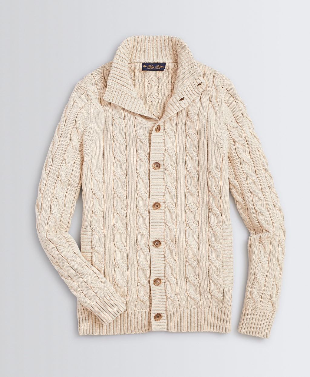 Men's Vintage Sweaters History Brooks Brothers Mens Mockneck Button-Front Cable Cardigan $148.00 AT vintagedancer.com