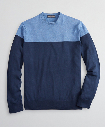 Silk and Cotton Color-Block Crewneck Sweater