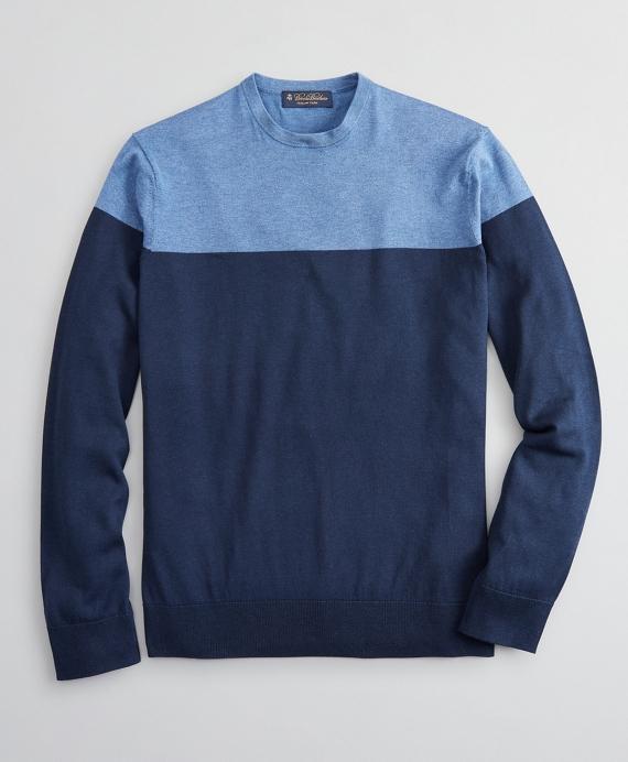 Silk and Cotton Color-Block Crewneck Sweater Blue