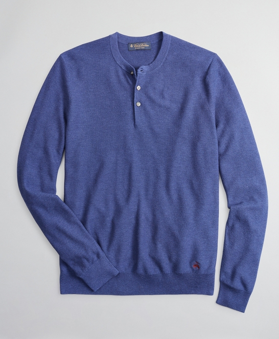 Silk and Cotton Henley Sweater Blue