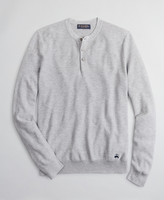 Silk and Cotton Henley Sweater Grey