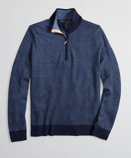 Merino Wool Glen Plaid Half-Zip
