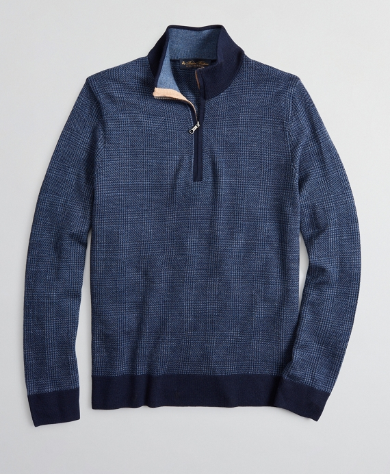 Merino Wool Glen Plaid Half-Zip Blue