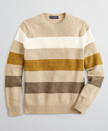 Cotton and Silk Stripe Crewneck Sweater