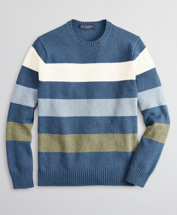 Cotton and Silk Stripe Crewneck Sweater Blue
