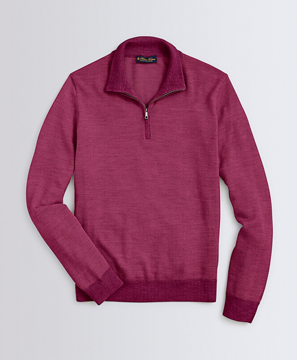 Washable Merino Wool Bird's-Eye Half-Zip