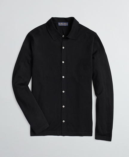 BrooksTech™ Merino Wool Polo Collar Cardigan