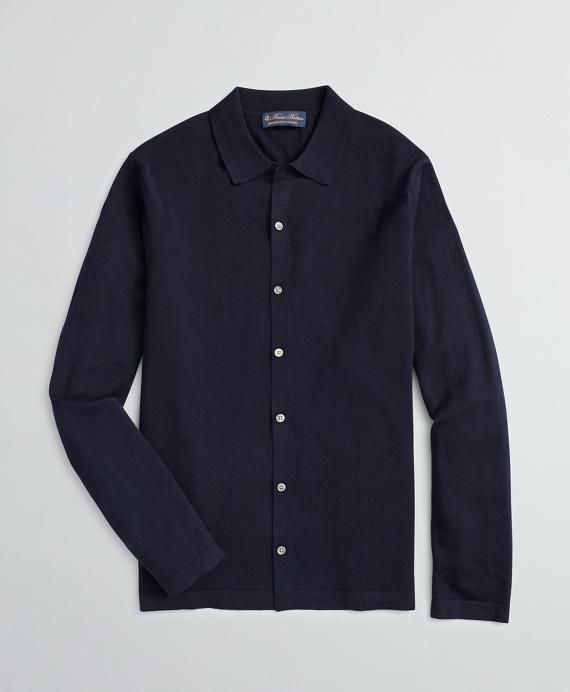 BrooksTech™ Merino Wool Polo Collar Cardigan Navy