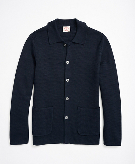 Button-Front Collared Cardigan