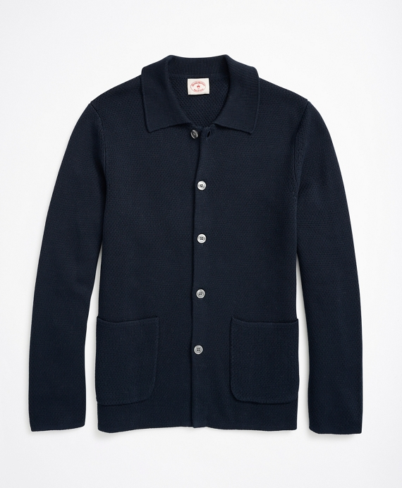 Button-Front Collared Cardigan Navy