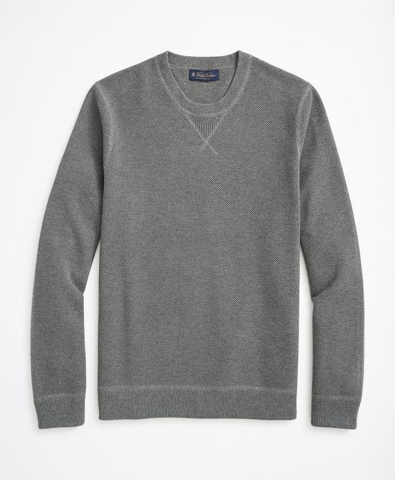 Cotton Pique Crewneck Sweater Grey