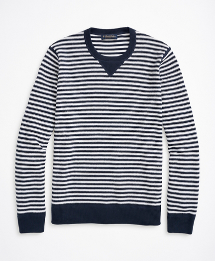 Striped Cotton Pique Crewneck Sweater
