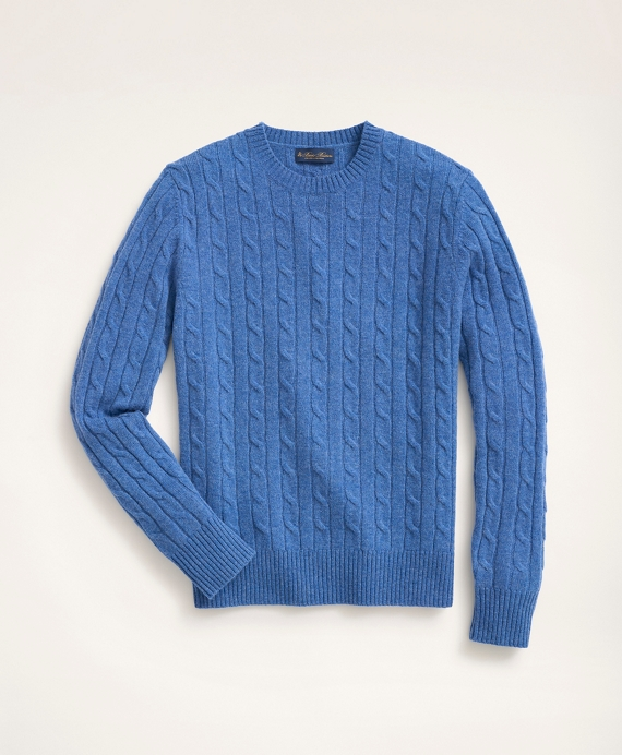 Lambswool Cable Crewneck SweaterDenim Heather product