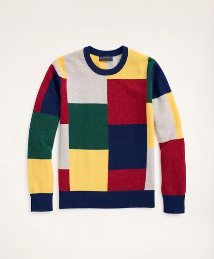 Patchwork Lambswool Crewneck Sweater