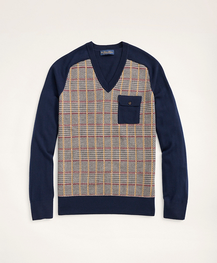 Merino Plaid V-Neck Sweater