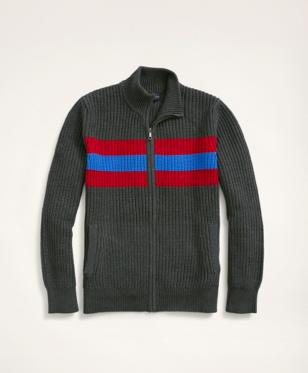 Striped Ribbed Full-Zip Sweater