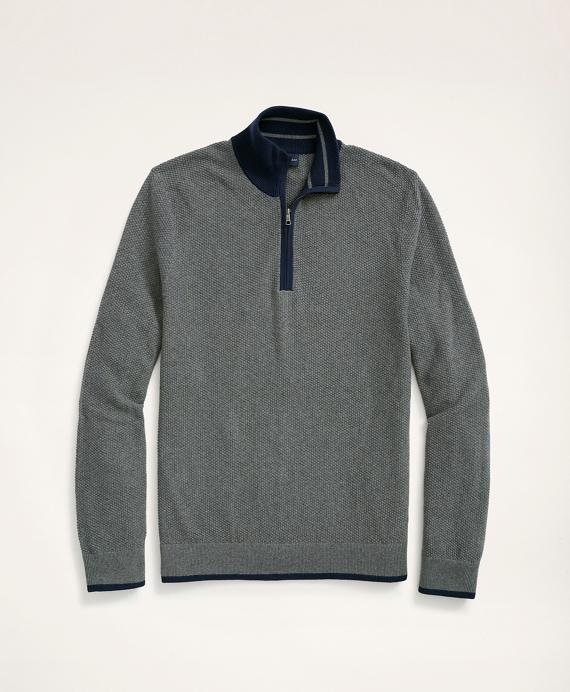 Cotton Pique Half-Zip Grey