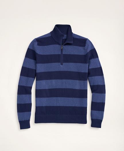 Cotton Pique Rugby Stripe Half-Zip
