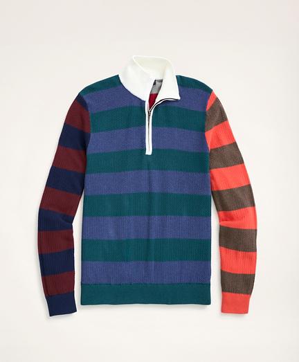 Cotton Pique Fun Rugby Stripe Half-Zip